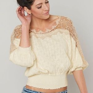 Free People Love Lace Sweater Crochet NWT Medium